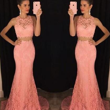 Lace Two-Piece Formal Dress Featuri..