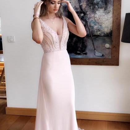 Beading Deep V neck Prom Dress, Bac..