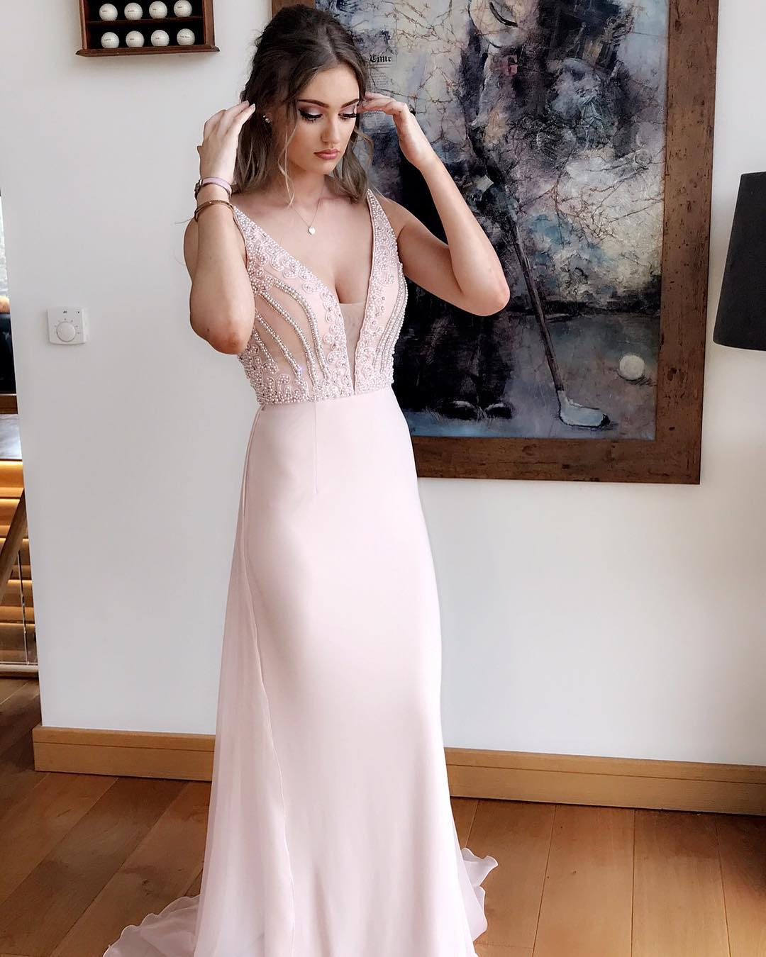 Beading Deep V neck Prom Dress, Backless Chiffon Prom Dress, Generous Long Formal Dress