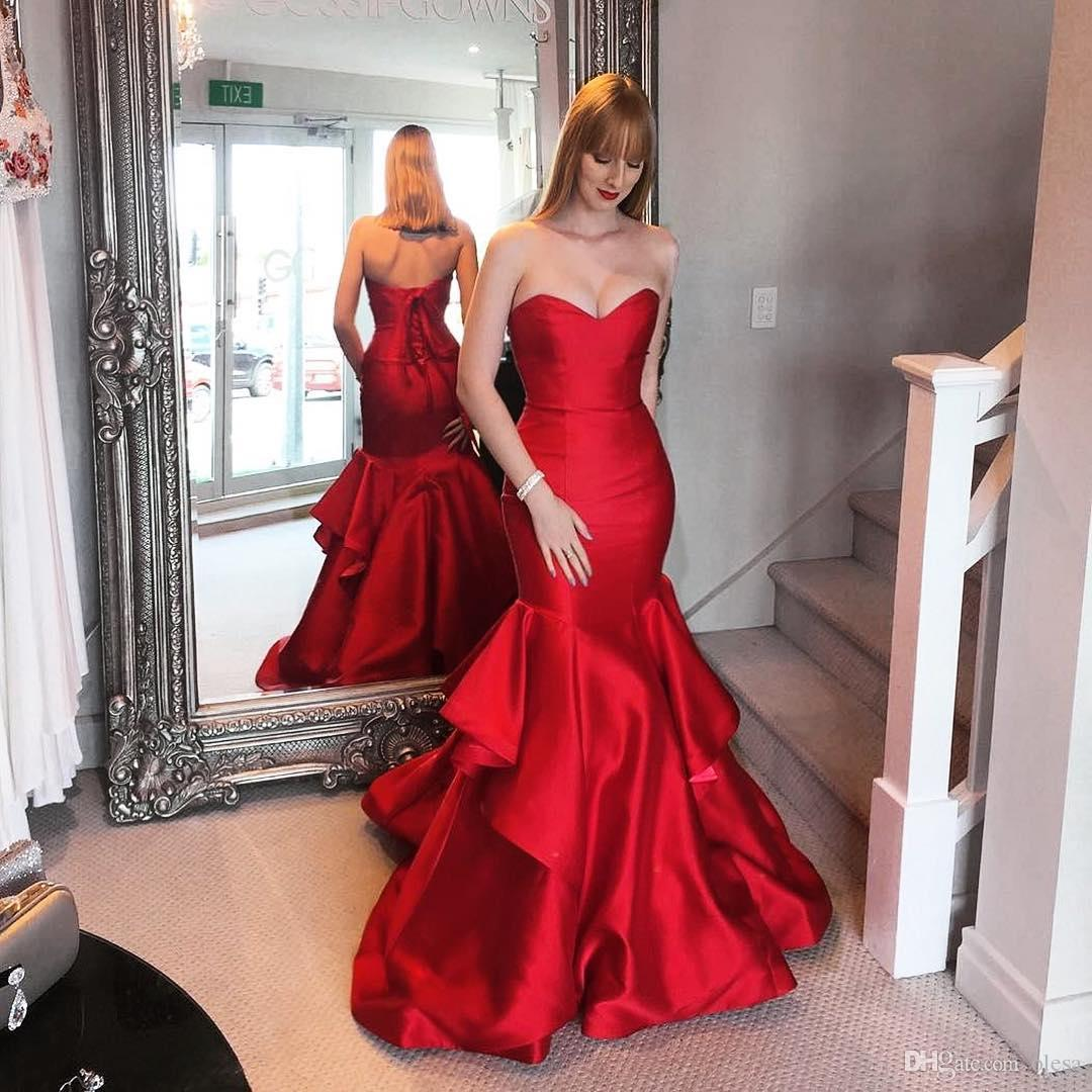 Mermaid Sweetheart Red Lace-up Tired Evening Dress,Evening Dress,Full Length Prom Dress