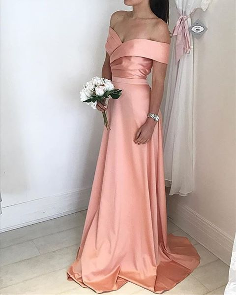 Satin Bridesmaid Dress, Off The Shoulder Formal Gown, Prom Dress With Ruched Bodice,Prom Dresses,Evening Dress