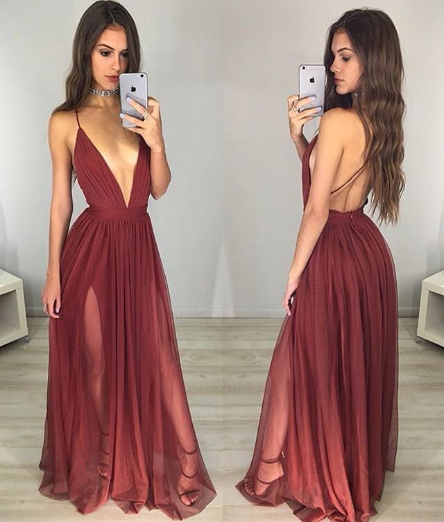 Wine Red Deep V Neck Backless Long Dress, Evening Gown,Prom Dress