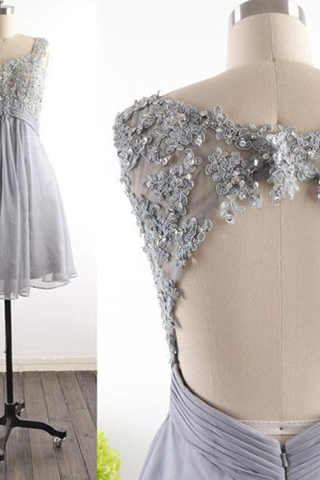 Custom Made Silver Beaded Lace Applique and Chiffon Open Back Evening Dress, Homecoming Dress, Graduation Dress, Cocktail Dress, Party Dress