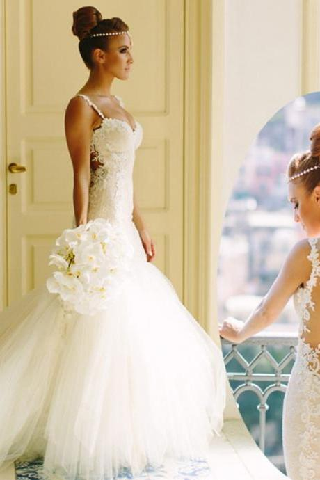 Lace Appliques Sweetheart Shoulder Straps Floor Length Tulle Mermaid Wedding Dress Featuring Open Back and Train