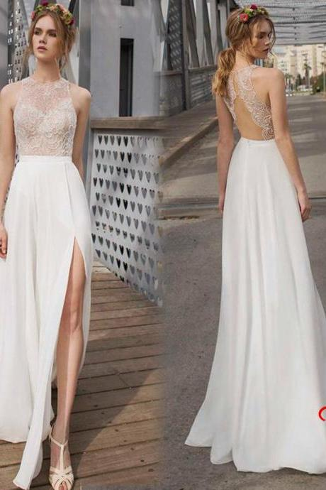 Custom Made White Sleeveless Open Back Lace Floor Length Prom Dress with High Split