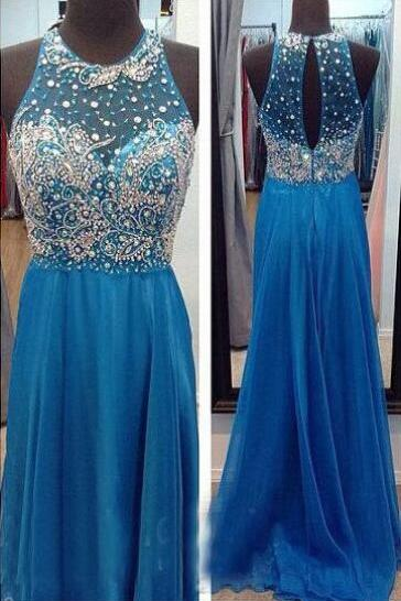 Blue Beaded Embellished Crew Neck Halter Floor Length Chiffon A-Line Prom Dress, Formal Dress