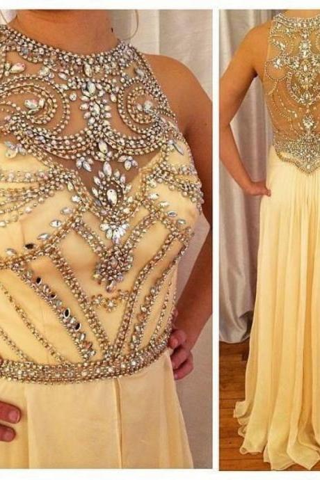 Rhinestone Embellished Halter Neck Floor Length Chiffon A-Line Prom Dress, Evening Dress