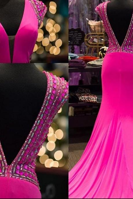 Beaded Embellished Plunge V Cap Sleeves Floor Length Formal Dress Featuring Plunge V Back, Prom Dress