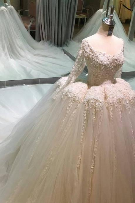 wedding dress,real sample long sleeves v neck organza ball gowns wedding dresses royal bride dress