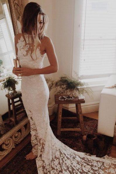 White Lace Wedding Dress,Halter Bridal Dress,Mermaid Bridal Dress,Sleeveless Wedding Dress
