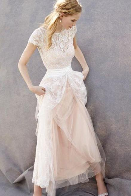 Blush Pink Sheer Lace A-line Tulle Floor-Length Wedding Dress with Cap Sleeves