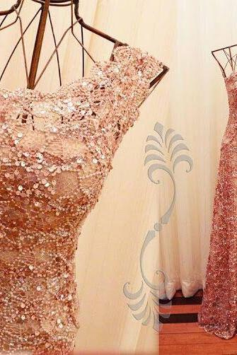 Blush Pink Prom Dress,One Shoulder Evening Dress,Sequined Beaded Party Dress,High Quality Prom Dresses