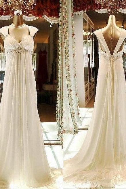 Wedding Dress, Sexy Sweetheart Empire Waist Low Back Chiffon Beaded Ivory Beach Wedding Dresses with Cap Sleeves