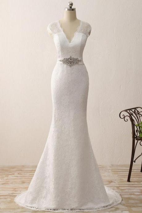 V-Neck Lace Mermaid Wedding Dress with Cap Sleeves and Sweep Train