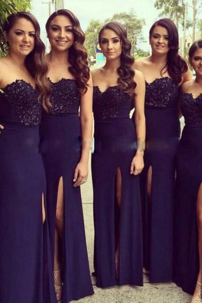 Navy Blue Bridesmaid Dress,Chiffon Prom Dress,Sexy Prom Dress,Mermaid Prom Dress,High Slit Bridesmaid Dresses,Backless Prom Dress,Long Mermaid Evening Dress