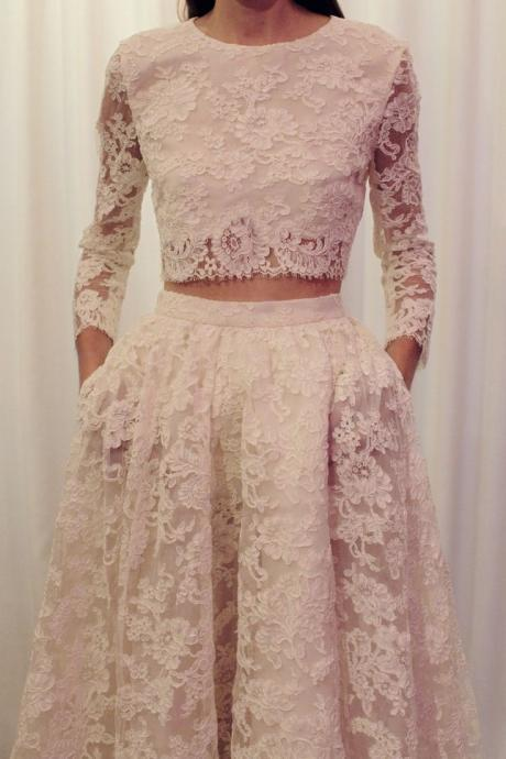 Two Pieces Wedding Dress,Long Sleeves Wedding Dresses,Lace Wedding Dress,Two Pieces Wedding Dresses,Long Sleeves Lace Bridal Dress,Wedding Dress