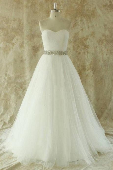 Strapless Sweetheart Ruched Beaded A-line Wedding Dress with Court Train