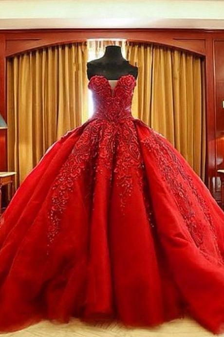 Red Wedding Dress, New Vestido De Noiva Wedding Dresses,Sexy Sweetheart Charming Wedding Dress,Ball Gown Lace Appliques Bridal Gowns