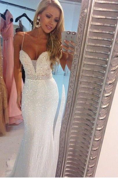 New Arrival Cheap Sexy White/Ivory Mermaid Sweetheart Sequins lace Long Formal Prom Party Gowns Gowns