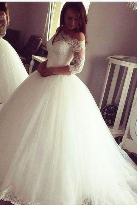 Charming Wedding Dress, Appliques Lace Wedding Dresses, Half Sleeve Wedding Gowns, Ball Gown Bridal Dresses