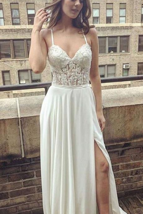 Charming Wedding Dress, Sexy Spaghetti Straps Wedding Dresses, Split Side Wedding Gown