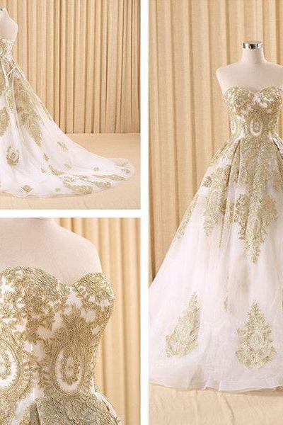 Real Image Wedding Dresses Vestidos de Novia A-Line Golden Appliques Lace Up Wedding Dress Bridal Gowns