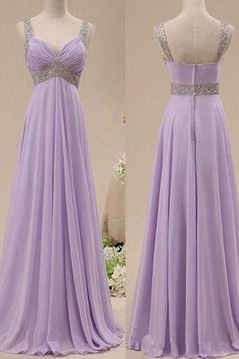 Real Image Bridesmaid Dresses Lavendar V-neck Ruched Beads Chiffon Long Formal Prom Party Gowns Vestidos