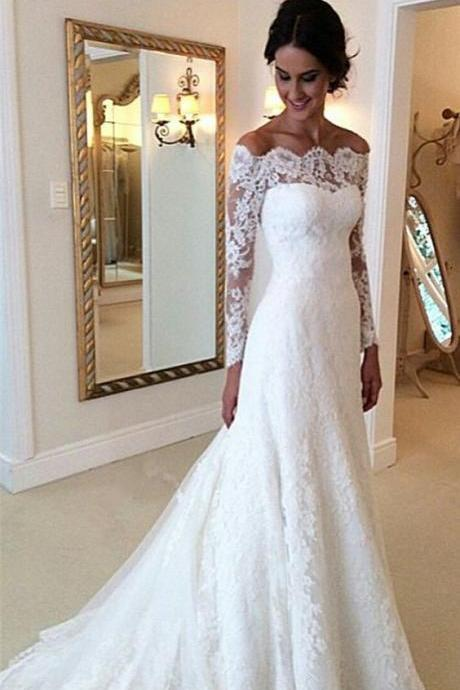 Charming White Lace Wedding Dress,Sexy Long Sleeves Wedding dress, Off The Shoulder Long Bridal Dress