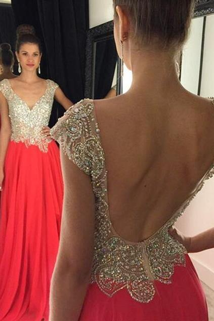Charming Red Prom Dress,Long vening Dress,Sexy See Through Prom Dress ,Sexy Open Back Prom Dress