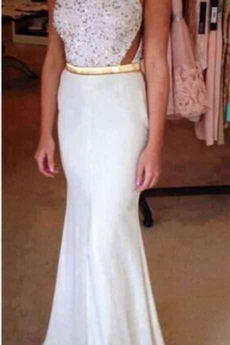 White Beaded Embellished Crew Neck Sleeveless Floor Length Trumpet Formal Dress, Prom Dress