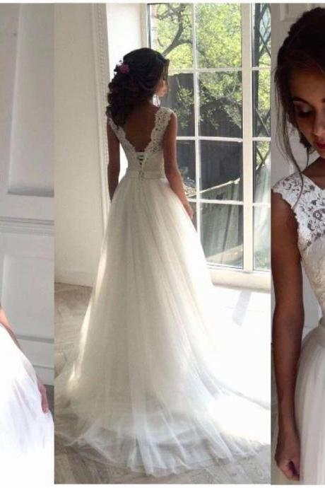 Ivory Prom Dress,Lace Prom Dresses,Open Backless Prom Dress,Elegant Wedding Gowns,Wedding Dresses,Beautiful Tulle Bridal Dresses,Bridal Gowns