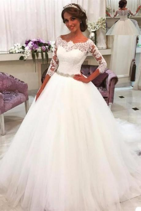 White Wedding Dress,Wedidng Dresses With Sleeves,Lace Tulle Wedding Gowns,Modest Bridal Gowns,A-line Bridal Gowns