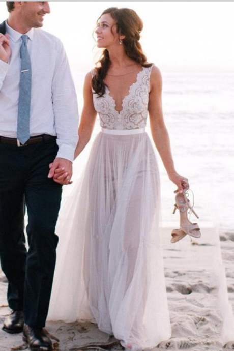 Sleeveless Sheer Plunging V Lace A-line Floor-Length Wedding Dress, Beach Wedding Dress