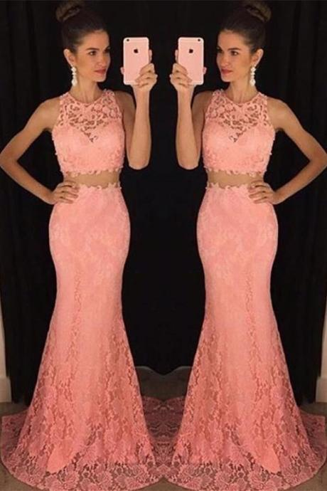 Mermaid Lace Two Pieces Prom Dresses For Teens,Girly Evening Dresses,Classy Prom Gowns,Cheap Party Prom Dresses