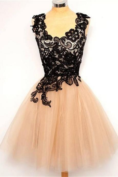 Black Lace Homecoming Dresses,Tulle Homecoming Dresses,Cute Homecoming Dresses,Handmade homecoming Dresses