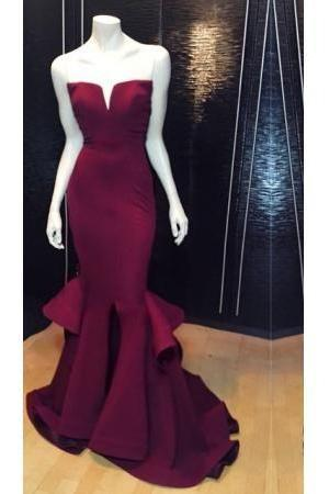 Charming Burgundy Long Mermaid Prom Dresses,Handmade Srapless Prom Gowns