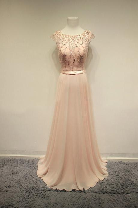 Bluch Pink Prom Dress,Long Cap Sleeves Prom Dresses,Evening Dresses,Party Gowns,Beading Prom Gowns