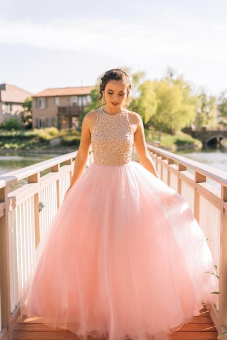 Pretty Pink Long Prom Gowns,Cute Prom Dresses,Handmade Prom Dresses,Charming Evening Gowns