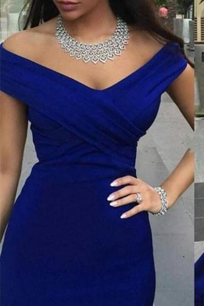 Simple Off Shoulder Long Mermaid Royal Blue Prom Dresses,Prom Gowns,Evening Gowns