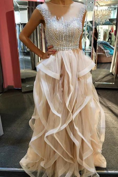 Beading Pretty Champagne Prom Dress,Long Prom Dresses,Sparkly Handmade Prom Gowns