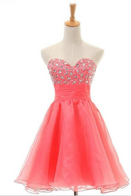 Beautiful Watermelon Strapless Homecoming Dresses,Cute Short Homecoming Dress For Girls,Pretty Graduation Dress
