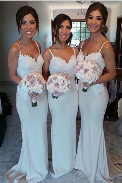 Hot Sale Elegant Spaghetti Straps Long Mermaid Lace Bridesmaid Dresses,Cheap Bridesmaids Dresses,Handmade Bridesmaid Gowns