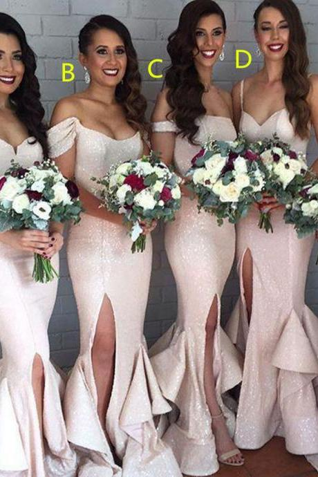 Charming Bridesmaid Dress, Sequing Shiny Long Mermaid Front Split Bridesmaid Dresses,Prom Dresses
