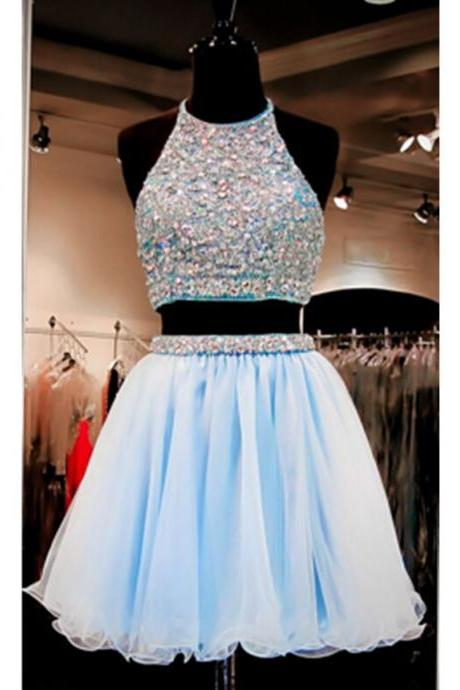 Beautiful Short Prom Dresses,Light Sky Blue Homecoming Dresses,Two Pieces Cocktail Dresses,Backless Graduation Dresses For Teens