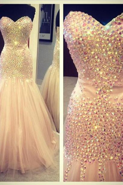 Beading Prom Dress,Evening Dresses,Sweetheart Floor-Length Prom Dresses, Real Made Evening Dresses,Tulle Sequins Evening Dresses, Charming Evening Dresses, Evening Dresses On Sale