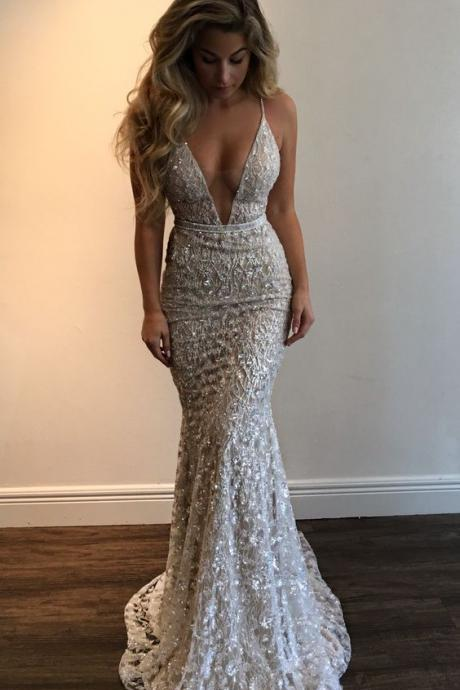 sexy deep v neck white lace mermaid formal evening prom dresses