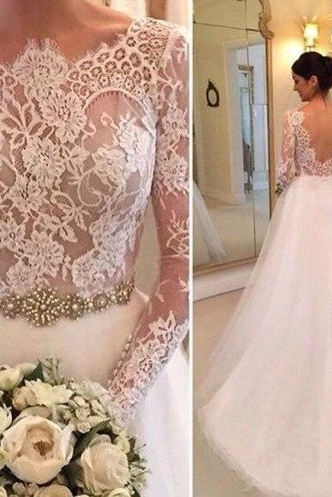 Tulle Wedding Dresses, Crew Neck Sheer Wedding Dress,Long Sleeve Lace Bridal Dresses,Accents Crystals Beading Bridal Gowns