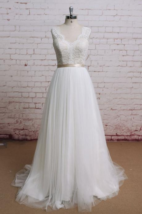 V-Neck Wedding Dress,Chapel Train Wedding Dresses,Lace Sexy A-Line Wedding Dresses