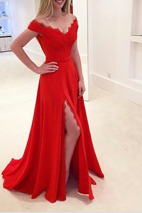 Red Off-The-Shoulder Plunge V Floor Length A-Line Prom Dress Featuring Slit and Lace Trim