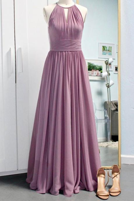 Halter Round Deep Pink Prom Dress,Chiffon Long Prom Dresses